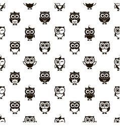 pattern with black owls vector image vector image