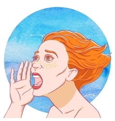 Portrait of a screaming young girl with tousled vector