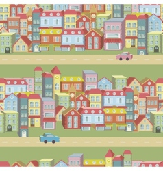 Seamless pattern with houses and roads vector