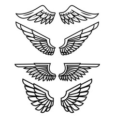 set of the wings isolated on white background vector image vector image