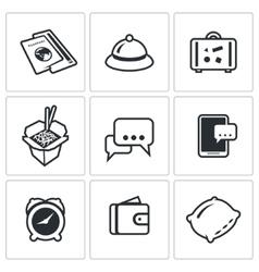 Set of travel icons visa hotel baggage vector