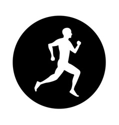 silhouette athlete running icon vector image vector image