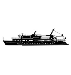 Silhouette of touristic pleasure boat isolated on vector