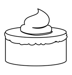 Sketch contour of hand drawing cake with vector
