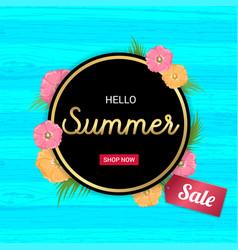 summer flowers gold frame or summer floral design vector image vector image