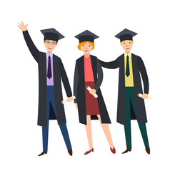 three college graduates in graduation caps gowns vector image vector image
