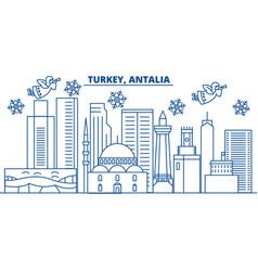 Turkey antalia winter city skyline merry vector