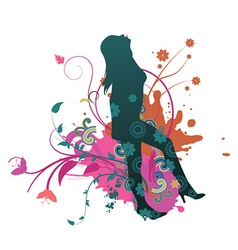 Abstract floral with grunge and silhouette vector