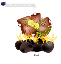 Hangi a traditional new zealand maori dish vector