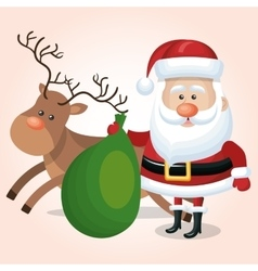 santa claus with green bag and reindeer graphic vector image