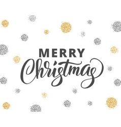 Merry christmas card with hand drawn lettering and vector