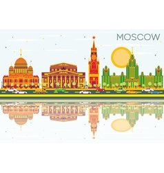 Moscow skyline with color buildings vector