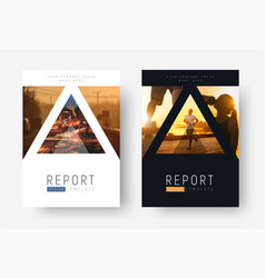 design of modern flyers with triangles for photos vector image