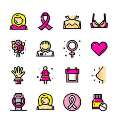 breast cancer awareness month icons vector image