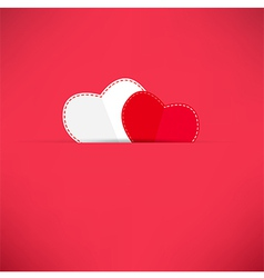 Red Valentines Day background with heart vector image