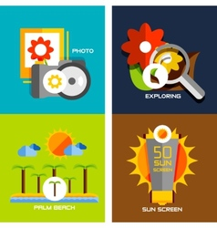 Set of flat design concepts - travel holiday vector image