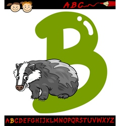 letter b for badger cartoon vector image