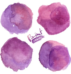 Purple watercolor painted stains set vector