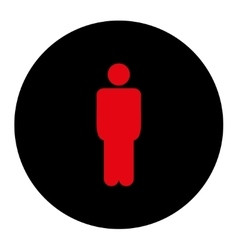 Man flat intensive red and black colors round vector image