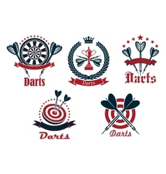 Dart game tournament icons and symbols vector