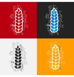 Drawing business formulas ears of wheat vector