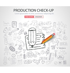 Production check-up concept with doodle design vector