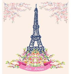 Love in paris nice card - vintage floral design vector