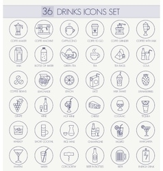 Outline thin line style web icon set - vector