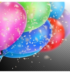 Colorful balloons with confetti eps 10 vector
