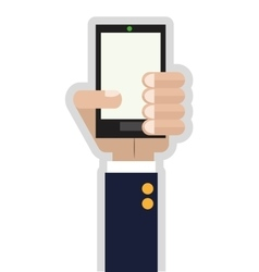 Hand holding cellphone icon vector
