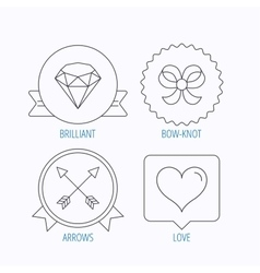 Love heart brilliant and bow-knot icons vector