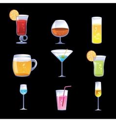Set cocktails vector image