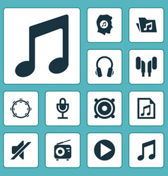 audio icons set collection of timbrel silence vector image