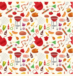 Bbq seamless pattern with grill objects and icons vector