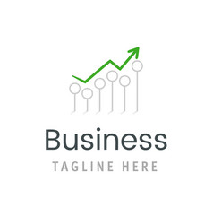 business green arrow chart growth icon market vector image