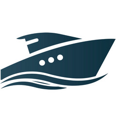 Business logo yacht floating on the waves modern vector