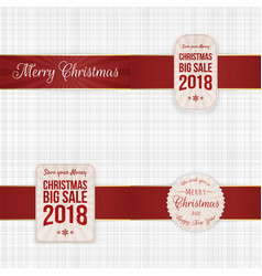 christmas festive labels with red ribbons vector image vector image