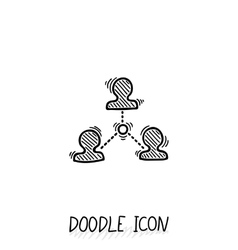 Doodle connection icon communication vector