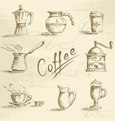 Hand drawn coffee sketch vector image vector image