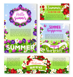 Hello summer banner template with flower field vector