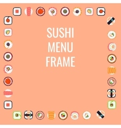 Japanese food sushi menu frame vector