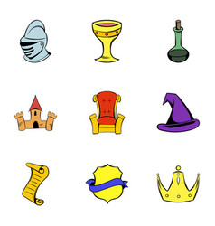 Middle age icons set cartoon style vector