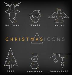 Minimal line christmas with sparkles vector