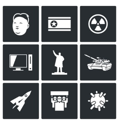 North Korea icons vector image