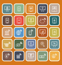 online banking line flat icons on orange vector image vector image