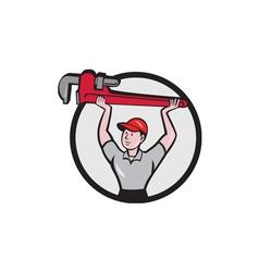 Plumber lifting monkey wrench circle cartoon vector