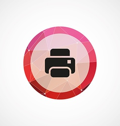 Printer circle pink triangle background icon vector