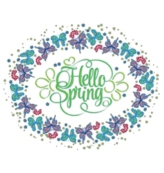 Round frame of butterflies Hello Spring lettering vector image vector image