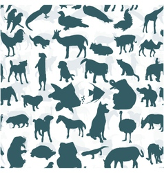 Seamless of silhouette set of animals vector image