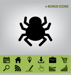Spider sign black icon at vector